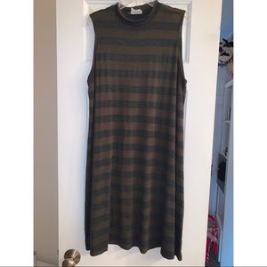 Army Green and Grey Striped High Neck Midi Dress